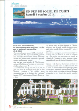 Le Club des Chiens Tibétainsde France a publié un article sur son site internet