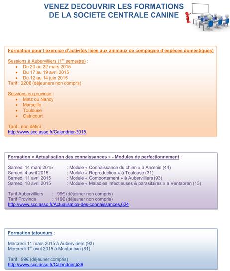 Calendrier des formations de la SCC pour le 1er semestre 2015