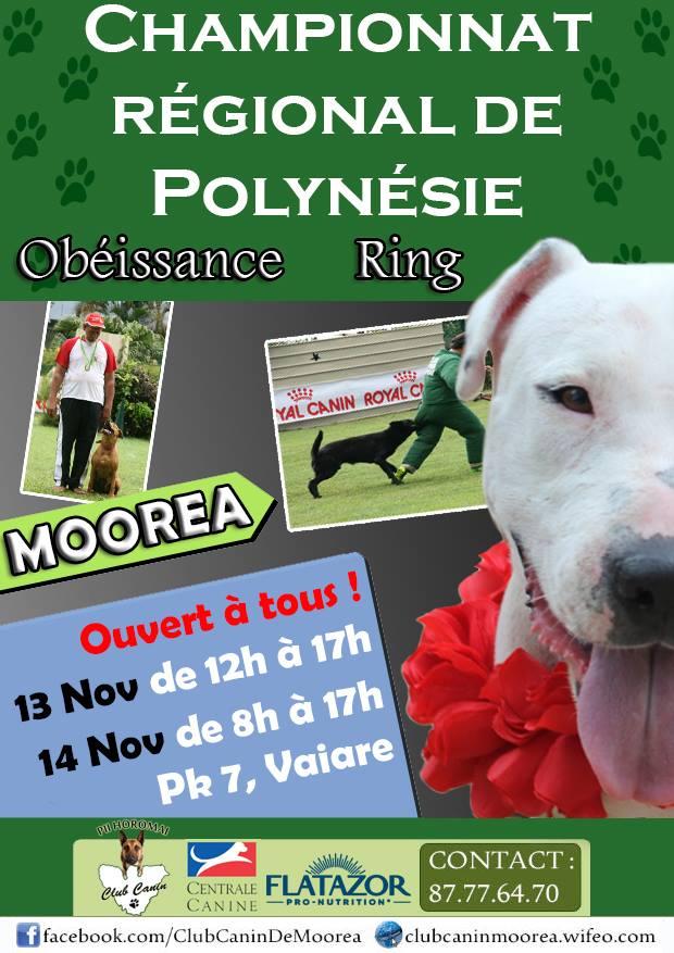 Le prochain concours canin se déroulera les 13 et 14 novembre 2015 à Moorea